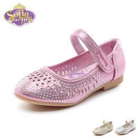 迪士尼Disney童鞋18新款儿童皮鞋女童闪钻时装鞋镂空透气凉鞋(5-10岁可选) K00215