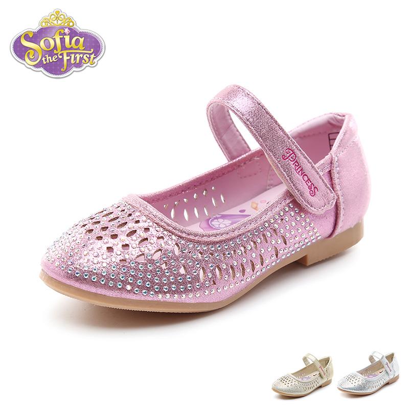 【79元任选2双】迪士尼Disney童鞋18新款儿童皮鞋女童闪钻时装鞋镂空透气凉鞋(5-10岁可选) K00215 【超级品类日:限时79元2双】