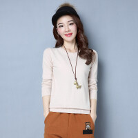 羊毛衫女式薄款秋冬圆领短款宽松打底衫长袖针织衫毛衣女