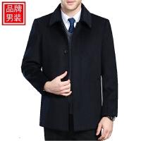 羊绒大衣男士中长款中老年秋季加厚羊毛呢子大衣男外套 短款 黑色