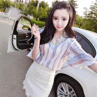 上衣配裙子套装 2018夏季韩版气质V领复古印花雪纺衫显瘦半身裙潮