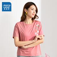 [到手价:23.9元]真维斯女装 春季 圆领绣花短袖T恤