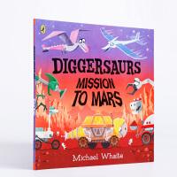【全店300减100】英文原版进口 Diggersaurs on Mars 火星上的挖掘龙 低幼启蒙认知平装图画书 3-