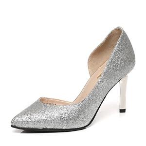 Belle/百丽春季专柜同款幻彩亮片布女凉鞋3Z4C9AK6