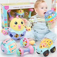 婴儿玩具0-3-6-12个月智力可咬软胶手摇铃男孩子女宝宝1岁