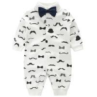 婴儿连体衣服秋冬季装新生儿纯棉0-3-6个月周岁满月宝宝绅士爬服