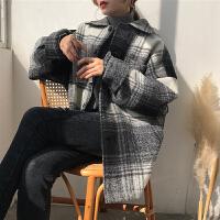 春季复古格子毛呢外套衬衫女韩版宽松复古单排扣中长款加厚大衣潮