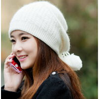 女士韩版潮可爱毛线帽兔毛针织帽 女士 冬天贝雷帽 秋冬季帽子