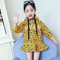 2019 童装女童豹纹卫衣新款冬装加厚加绒鱼尾裙儿童洋气假两件裙子