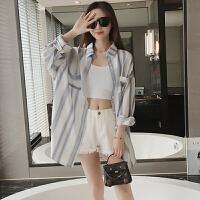 夏季新款女装宽松显瘦中长款复古竖条纹学生防晒衣开衫衬衣外套女