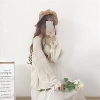 韩国软妹开衫外套女春夏韩版气质淑女蕾丝灯笼袖薄款雪纺防晒衫潮