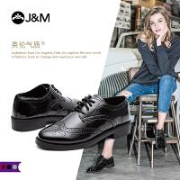 jm快乐玛丽2018秋季新款平底系带学院风牛津鞋布洛克鞋女鞋93008W