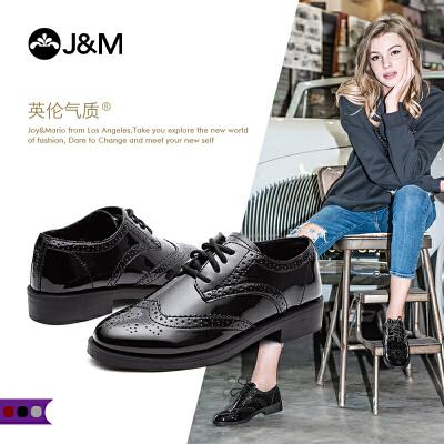 【低价秒杀】jm快乐玛丽秋季新款平底系带学院风牛津鞋布洛克鞋女鞋