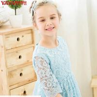 鸭鸭(YAYA)2018女童装夏装红色蕾丝连衣裙中大童儿童宝宝公主裙子Q-G370311