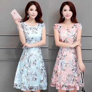 哆哆何伊夏天新款中长裙夏季大码女装修身拼接甜美雪纺印花蕾丝连衣裙
