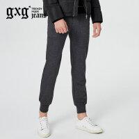 gxg.jeans男装秋冬新品青年灰色束腿裤运动休闲针织长裤64602301