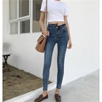 春装韩版紧身弹力不规则九分小脚铅笔裤显瘦高腰牛仔裤女学生长裤