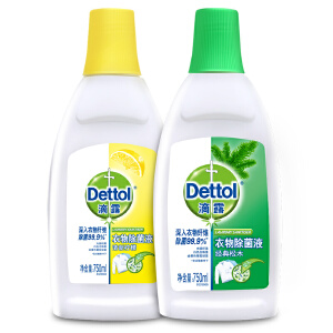 滴露(Dettol)除菌抑菌消毒大包装(衣物除菌液柠檬750ml+松木750ml)专业除螨有效抑菌
