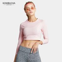 【限时秒杀】Kombucha瑜伽健身T恤2018新款弹力修身显瘦露脐长袖运动T恤健身跑步上衣K0369