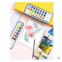 包邮!Marco马可 初学者成人绘画24色固体水彩颜料12色学生手绘练习透明水彩画 水粉颜料画笔盒装便携工具套装A49