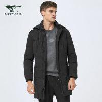 七匹狼羽绒服男款2017新款中青年中长款黑色羽绒服新品男外套