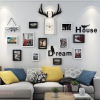 照片墙装饰画个性相框墙北欧创意钟表现代简约挂墙相框组合相片墙