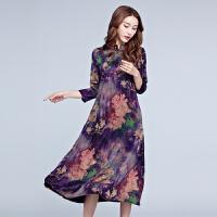 显瘦宽松大码女装裙子春夏季新款中长款复古中国风印花连衣裙
