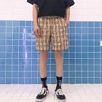 夏天帅气复古格子男士休闲短裤宽松直筒男装韩版潮流青少年五分裤