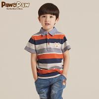 【2件2.5折 到手价:90】Pawinpaw宝英宝卡通小熊童装秋季款男童条纹polo衫