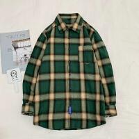 衬衫男港风格子衬衣韩版男潮流工装外套长袖宽松痞帅日系很仙的上衣