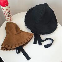 小仙女韩版休闲系带纯色渔夫帽女秋冬日系百褶荷叶边盆帽子可折叠