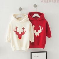 亲子装冬季一家三口韩版潮家庭装宝宝加绒加厚麋鹿卫衣儿童圣诞服