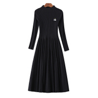 针织连衣裙秋装女过膝中长款显瘦黑色长袖秋冬打底毛衣裙 黑色