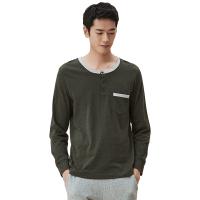网易严选 设计师款 男式森林绿撞色长袖