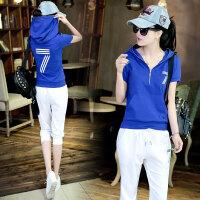 休闲套装女夏装女装新短袖七分裤运动修身时尚纯棉两件套潮 S 建议70-88斤