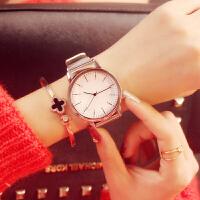手表女士学生时尚潮流简约复古男表钢带女表情侣手表一对