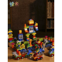 �和�汽��e木����大�w粒拼�b3益智男孩子女孩6多功能玩具城市系列