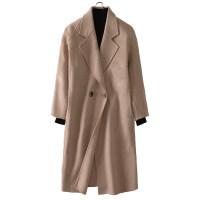 双面羊绒大衣女中长款流行修身秋冬加厚高端蓝色毛呢外套