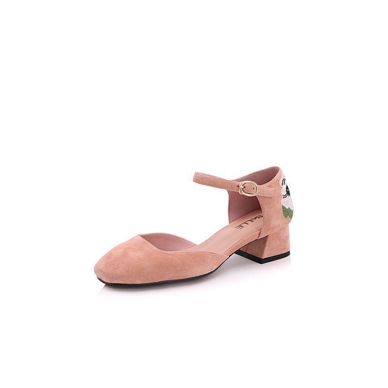 Belle/百丽2017春时尚刺绣羊绒皮复古方头女单鞋BVS32AK7