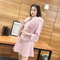 【25-50】韩版刺绣花朵毛呢旗袍连衣裙+仿皮草马甲两件套女装
