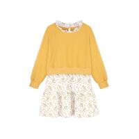 女童连衣裙秋装2018新款长袖公主裙宝宝假两件套洋气儿童碎花裙子 黄色