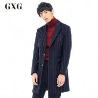 GXG毛呢大衣男装 冬季男士修身潮流青年时尚休闲蓝白条大衣男