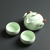 汉馨堂 旅行茶具套装 收纳旅行茶具套装定窑便携陶瓷快客杯一壶二杯
