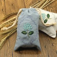 刺绣DIY手工刺绣紫阳花材料包手机袋子束口袋香包情侣零钱包
