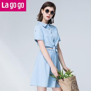Lagogo/拉谷谷2017年夏季新款系带纽扣短袖纯棉牛仔连衣裙女甜美
