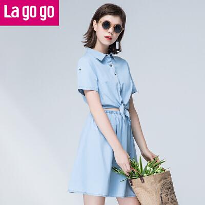 【两件5折后价164.5】Lagogo/拉谷谷2017年夏季新款系带纽扣短袖纯棉牛仔连衣裙女甜美