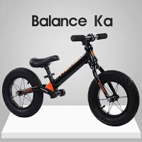 儿童平衡车2-6岁小孩滑步车男女宝宝滑行车无脚踏双轮12寸自行车 K8黑色+铝合金+礼包赛事
