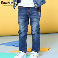 【2件2.5折 到手价:125】Pawinpaw宝卡通小熊童装秋款男童水洗牛仔裤修身长裤休闲潮