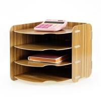韩国创意 A4桌面木质办公用品收纳文件架多层大号书架置物架