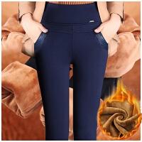 胖mm加绒裤女冬外穿打底裤女高腰加厚中年妈妈裤显瘦弹力铅笔裤